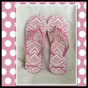 Pink Ribbon Breast Cancer Awareness Flip Flops